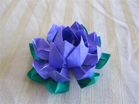 Japanese Origami Flowers - purple origami lotus flower