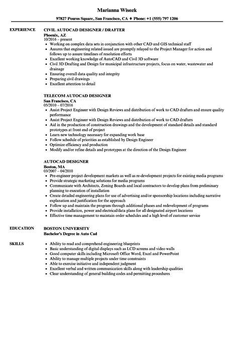 autocad designer resume samples velvet jobs