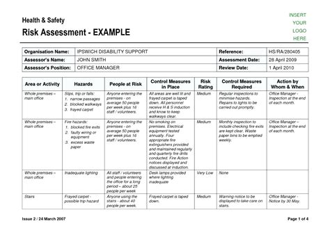 formal risk assessment template stunning army risk assessment template images exle