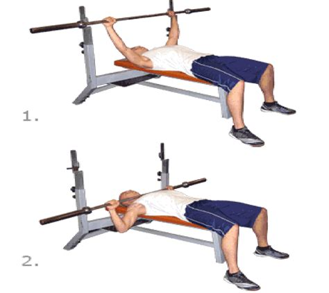 bar bell bench press step exercises and fitness chest exercises step 5