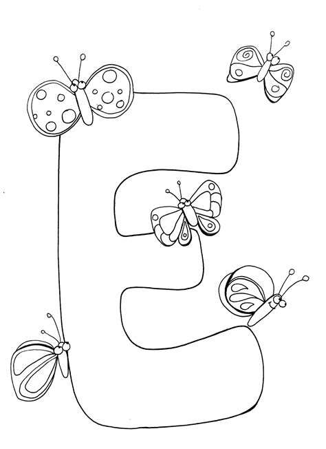 free coloring pages of letter letter e