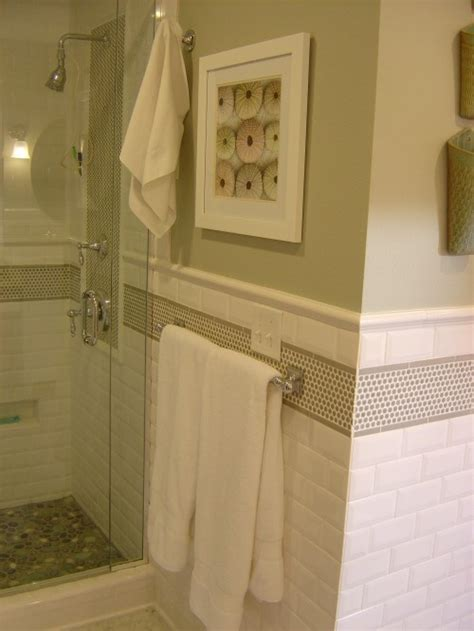 penny tile in bathroom love the mix of subway and penny round tile for the