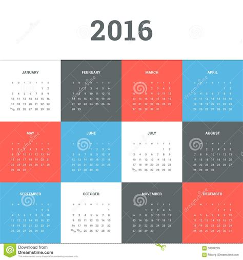 design calendar simple calendar 2016 stock vector image 58389279