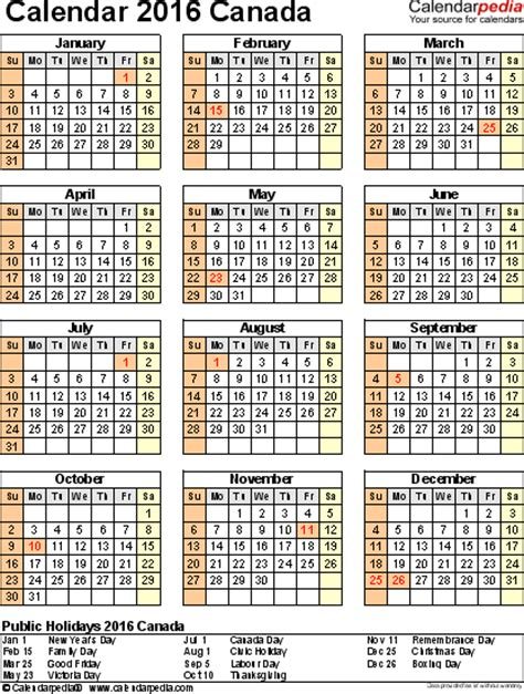 holidays and observances in canada in 2016 time and date canada calendar 2016 free printable pdf templates