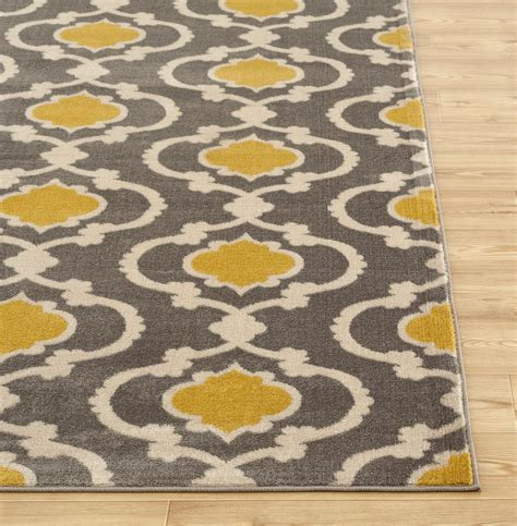 contemporary gray rugs rugshop moroccan trellis contemporary indoor area rug 5 3 quot x 7 3 quot gray yellow