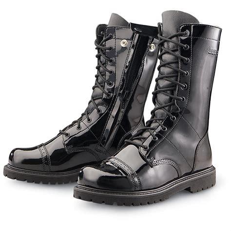 black gloss boots s bates hi shine paratrooper boots gloss black