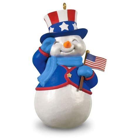 amazoncom snowman christmas 2016 patriotic snowman hallmark keepsake ornament hooked on hallmark ornaments