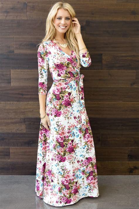 Floral 3 4 Sleeve Dress ivory floral draped 3 4 sleeve maxi dress