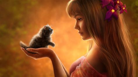 wallpaper laptop girl wallpaper fantasy girl cute kitten hd cute 2846