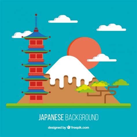 flat design wallpaper vector japanese landscape in flat design background vector free