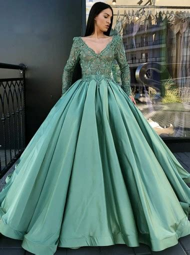 ball gown  neck pleated green satin quinceanera dress