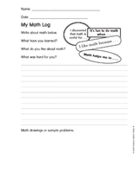 printable everyday math journal pages my math log 1 printable journaling activity k 2nd grade