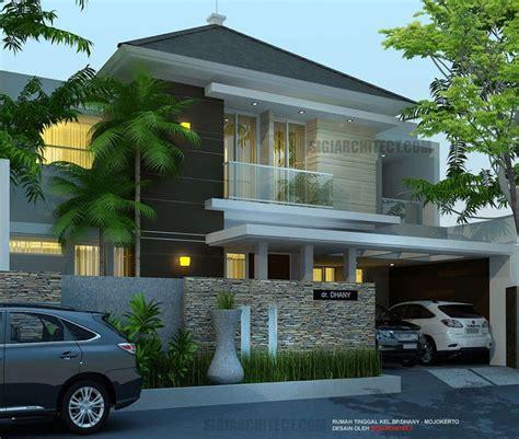 model rumah mewah 2 lantai 5 kamar tidur lahan 4 x 15 m2 di mojokerto rumah minimalis konsep