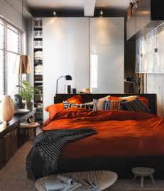 room decor small house: photo of small bedroom design and decorating idea orange and brown