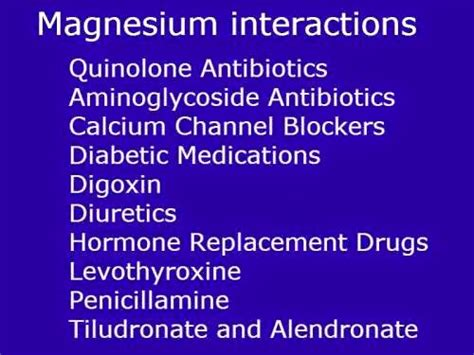supplement interactions magnesium interactions magnesium contraindications