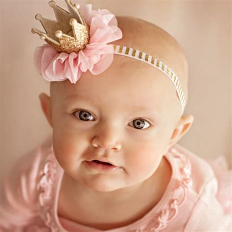 1pc lovely kid newborn crown headband princess crown hairband pearl tiara lace