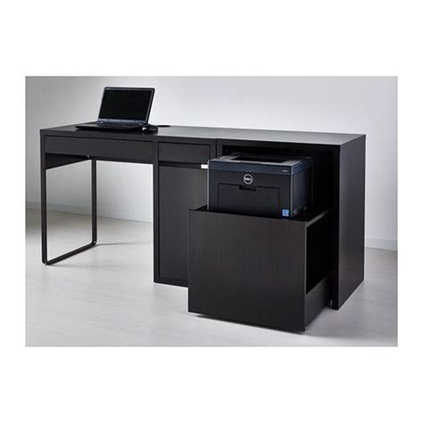 printer desk micke desk with printer storage black brown