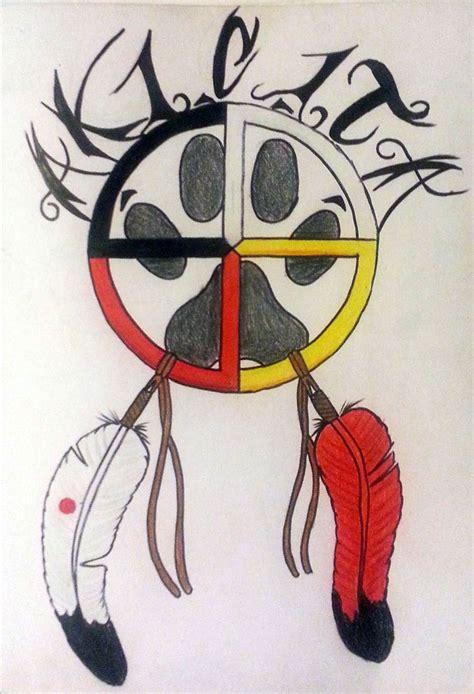 medicine wheel tattoo akicita warrior medicine wheel with wolf paw and coup