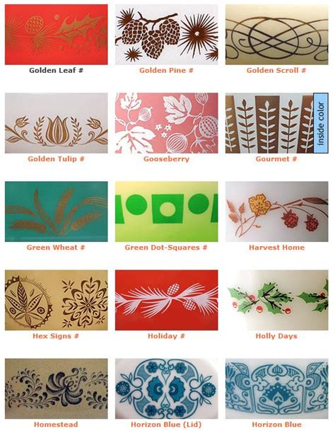 design pattern guide vintage pyrex promotional patterns i only have the green