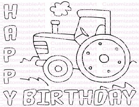 Happy Birthday Tractor Coloring Pages | tractor party favor tractor coloring page tractor party