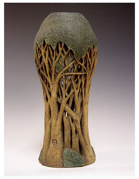 Tree Vase carved tree vase by nowell carved tree