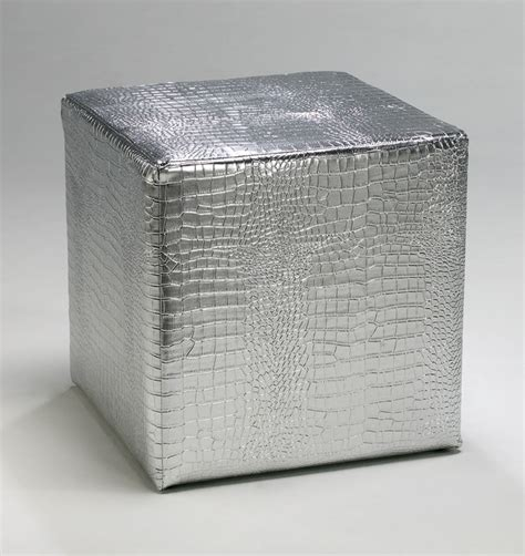 silver leather ottoman faux reptile silver leather ottoman by cyan design