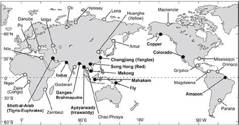world river systems map 1 map of the world s major river delta systems with those