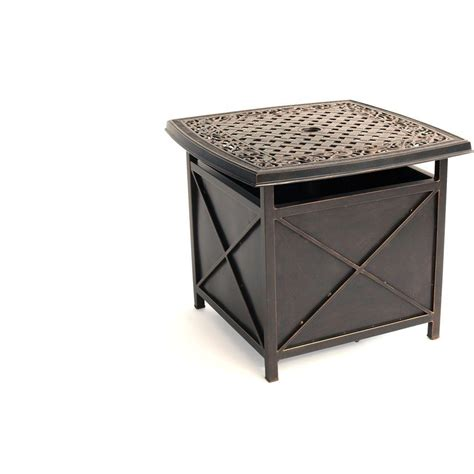 Patio Umbrella Stand Table Hanover Traditions 46 96 Lb Aluminum Patio Umbrella Base In Rubbed Bronze Tradumbtbl The