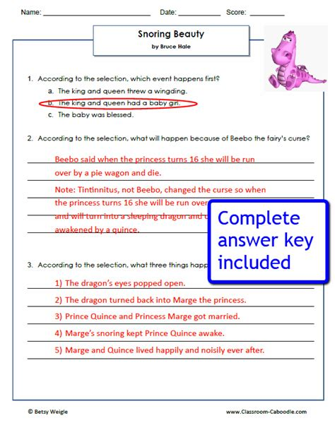reading comprehension test with answer key quot snoring beauty quot reading worksheets classroom caboodle