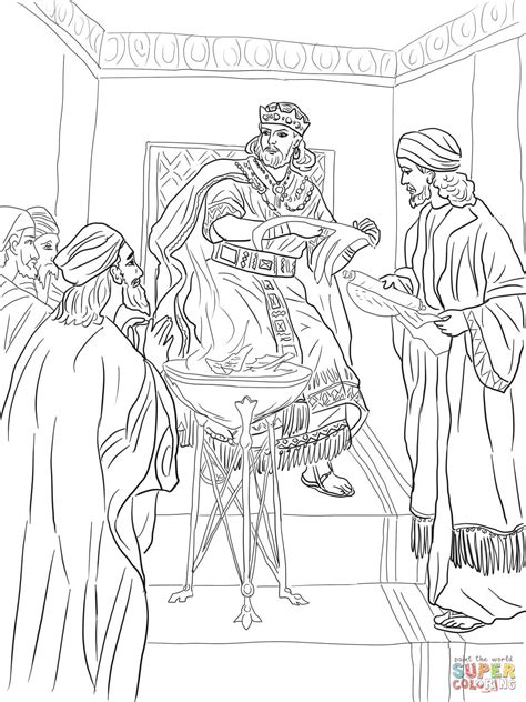 free bible coloring pages jeremiah king jehoiakim burns jeremiah s scroll coloring page