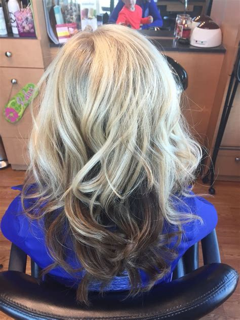 dark hair underneath with blonde highlights on top 17 best images about hair by melissa lobaito on pinterest