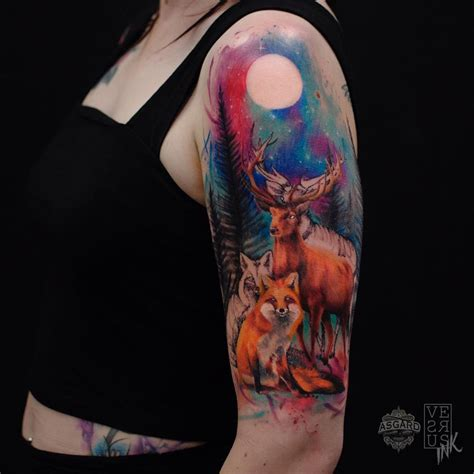 watercolor tattoo half sleeve deer fox watercolor sleeve best design ideas