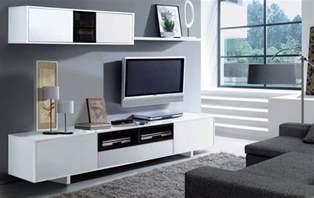 Television Tables Living Room Furniture Tv Unit Living Room Furniture Set Modular Media Wall White Melamine Ebay