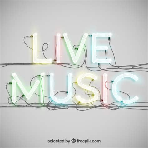 vector neon tutorial live music in neon typography vector free download