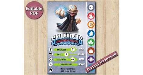 Kaos Power Ranger 20 skylanders editable invitation kaos 5x7 instant pdf
