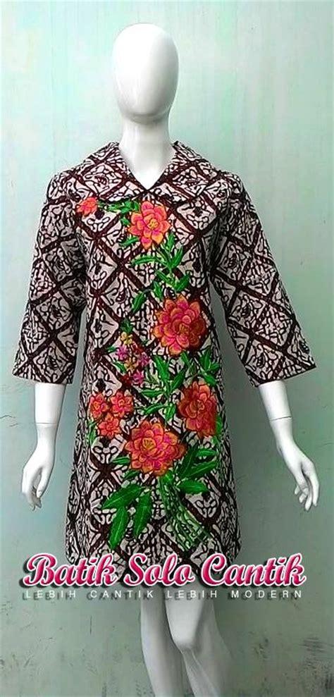 Tulis Batik Sogan Resleting Dress Batik Tulis Kombinasi Bordir Baju Kerja Batik