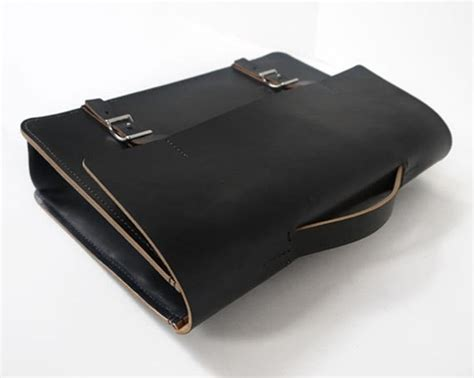 Leather Handmade Bags - handmade black leather messenger bag veg basader