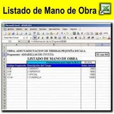 lista de pecios de mano de obra de uocra capital colombia an 225 lisis de precios unitarios en excel