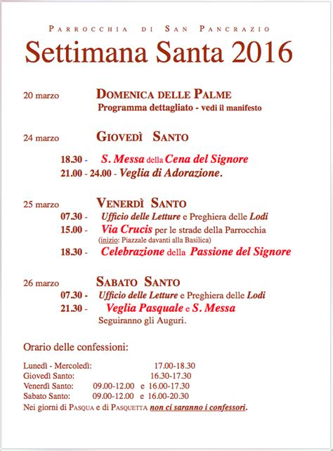 programma settimana santa 2016 parrocchia settimana santa 2016