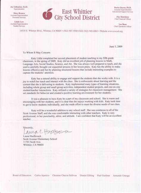 Recommendation Letter For Student In Education Kathryn Letters Of Recommendation Student Teaching