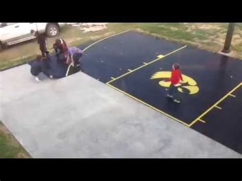 diy backyard basketball court snapsports 174 time lapse diy install of home backyard