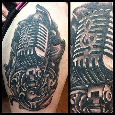 old fashioned microphone tattoo designs vintage microphone ideas