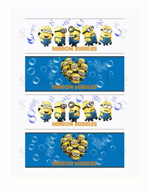despicable me bubble bottle labels printable minion