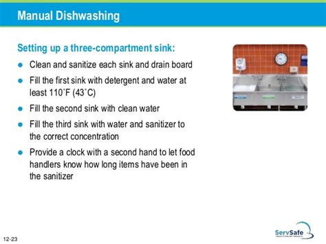 the correct order of a three compartment sink is chapter 12 cleaning and sanitizing