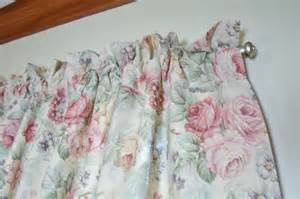 vintage shabby cabbage roses cottage chic ruffled curtains valances 85 quot x19 quot x 2 ebay