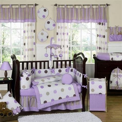 Purple Crib by Mod Dots Purple Polka Dot Baby Bedding 9 Crib Set