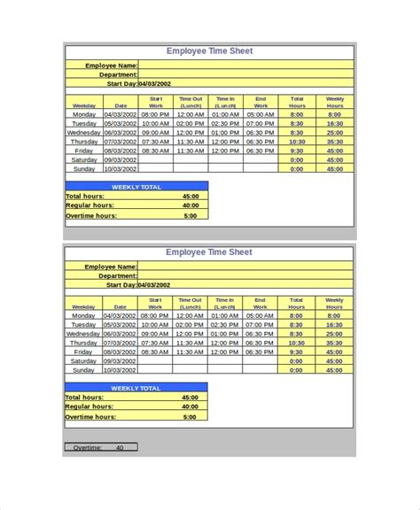 create a time sheet in lunch breaks for hourly employees lunch