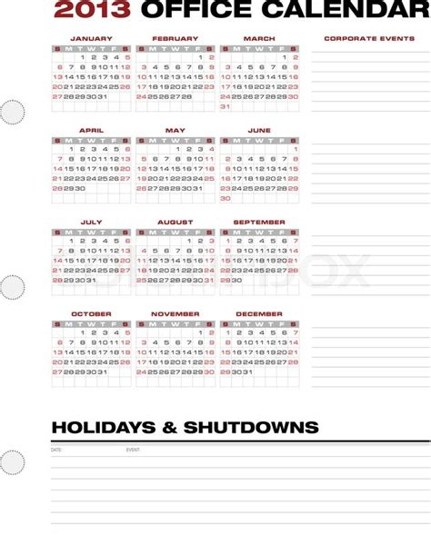 2013 corporate office calendar template grid stock