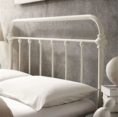 White Metal Headboard And Footboard by Inspire Q Antique White Graceful Lines