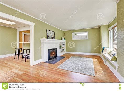 living room interior design of craftsman house stock photo